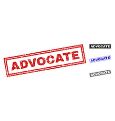 Grunge advocate scratched rectangle stamps vector