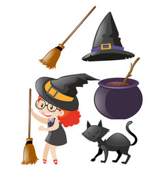 Halloween set with witch and other elements vector