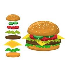 Hamburger parts symbol icon design vector