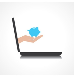 hand holding piggy bank comes from laptop screen vector image