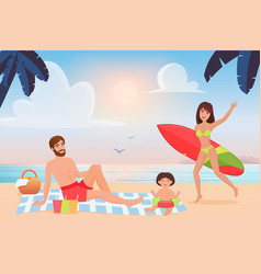 happy family spend fun time on tropical summer vector image