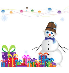 Happy snowman in a blue scarf vector