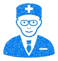 Head physician grainy texture icon vector