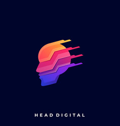 head technology colorful design template vector image