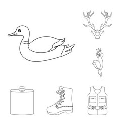 hunting and trophy outline icons in set collection vector image