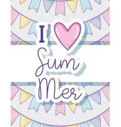 i love summer card vector image