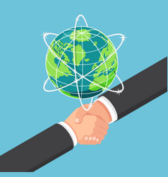 isometric businessman shake hands with vector image