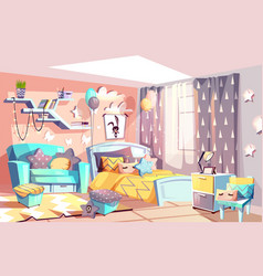 Kid girl modern room interior vector