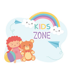 kids zone teddy bear and pink little doll vector image