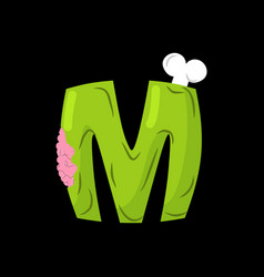 letter m zombie font monster alphabet bones and vector image