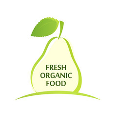 logo with silhouette pear vector image