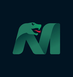 M letter logo with snake head silhouette vector