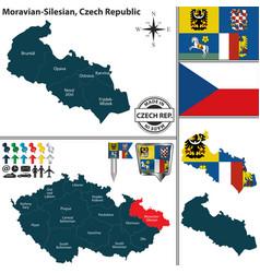 Map of moravian silesian czech republic vector