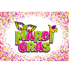Mardi gras comic text pop art vector