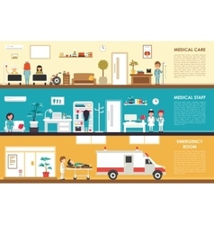 Medical Care and Staff Emergency room flat vector