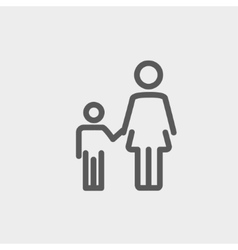 Mother and child thin line icon vector image