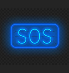 neon sign sos the inscription on a dark vector image