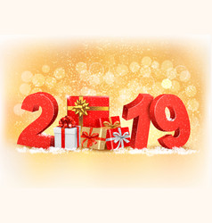 new year background with a 2019 and gift boxes vector image