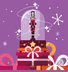 Nutcracker soldier in crystal sphere with gift vector