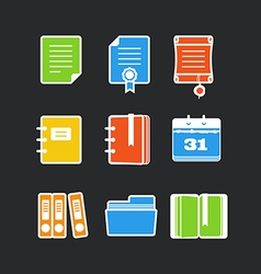 Office documents color icons set vector
