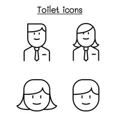 Office toilet restroom bathroom symbol set in vector