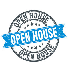 open house round grunge ribbon stamp vector image