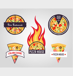 pizza labels logos icons vector image