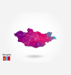Polygonal mongolia map low poly design map made vector