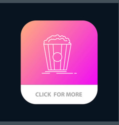 popcorn theater movie snack mobile app button vector image