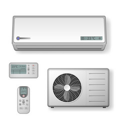 Realistic set of air conditioner with cooling and vector