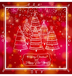 red background with forest of christmas trees vector image