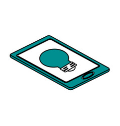 Regular lightbulb on cellphone screen icon image vector