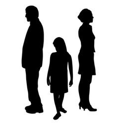 Sad child standing between two divorcing parents vector