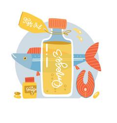 Salmon fish steak oil bottle softgel pills vector