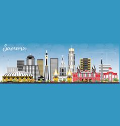 Samara russia city skyline with color buildings vector