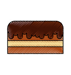 scribble cute cake cartoon vector image