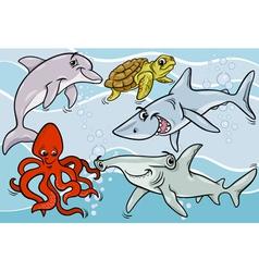 Sea life animals and fish cartoon vector