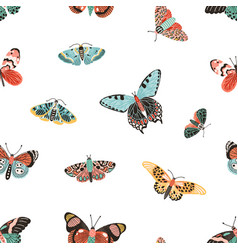 seamless pattern with gorgeous flying butterflies vector image