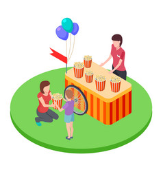 selling popcorn in the park a woman gives a boy vector image
