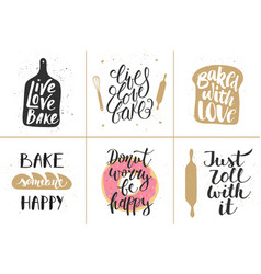 Set bakery lettering posters greeting cards vector
