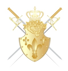 Shield crown and weapons vector