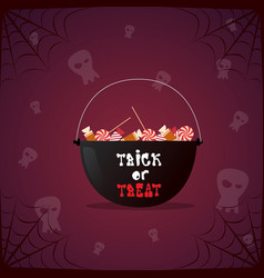 silhouette witch pot with potion and skull happy vector image