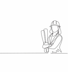 single continuous line drawing young female vector image