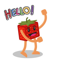 smiling strawberry fruit cartoon mascot character vector image