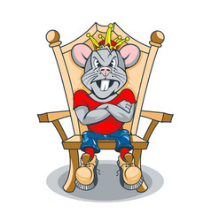Strict rat king sitting on throne vector