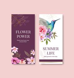 Summer flower flyer template design vector