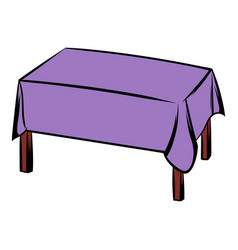 Table with tablecloth icon cartoon vector