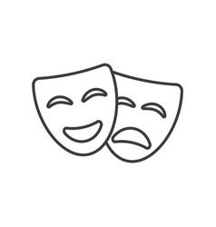 Theatre mask icon silhouette drama comedy vector
