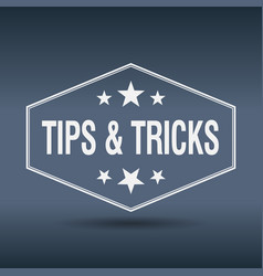 Tips tricks hexagonal white vintage retro style vector