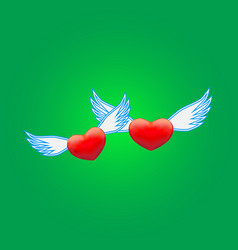 Two hearts on a green background vector